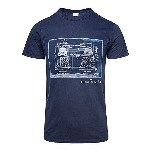 Doctor Who Dalek Blaudruck T Shirt (Navy Blau) - ()