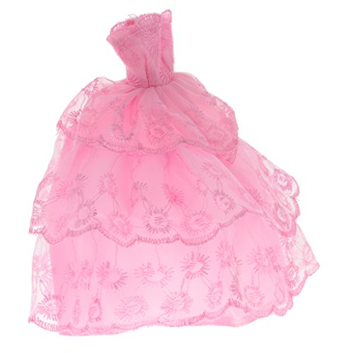 Segolike 26cm Doll Clothes Handmade Wedding Dress Party Gown Clothes Outfits for Barbie Doll Girl's Birthday Gift - Pink Strapless Dress  available at amazon for Rs.435