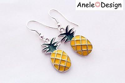 Boucles d'oreilles tendance Ananas * Tropical Summer* jaune vert argenté