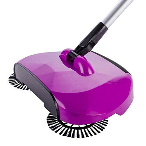 bestomz Kehrmaschine 3in 1mit 360Grad-Rotation Kehrmaschine manuell für die Reinigung de Haus Besen Kunststoff multufunzione mit Behälter von Staub (violett) -