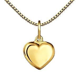 CLEVER SCHMUCK Set Goldener kleiner Anhänger Mini Herz 8 mm beidseitig leicht gewölbt geschlossen glänzend 333 GOLD 8 KARAT und vergoldete Kette Venezia 38 cm für Kinder im Etui