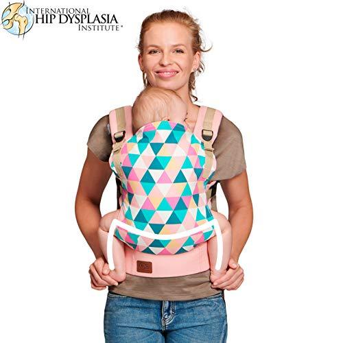 Kinderkraft Babytrage für Säuglinge und Kleinkinder NINO Rückentrage Bauchtrage Baby Carrier Kindertrage Ergonomisch aus Baumwolle leichte Konstruktion 3 Monate bis 20 kg Rosa