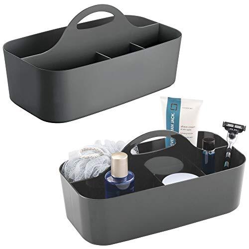mDesign 2er-Set Duschkorb mit je 6 Fächern - tragbarer Aufbewahrungskorb aus Kunststoff für Badaccessoires - Duschablage für Duschgel, Shampoo, Rasierer und Co. - anthrazitgrau