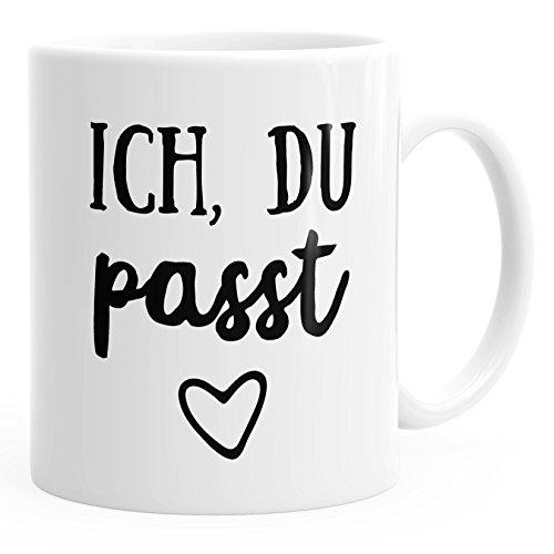 MoonWorks Kaffee-Tasse Ich du passt Geschenk Liebe Valentinstag Freund Freundin weiß Unisize