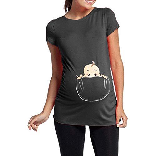 Damen Sommer Kurzarm Umstandsmode T-Shirts Cute Mutterschaft Kleidung Lustige Witzig Spähen Baby Gedruckt Baumwolle Schwangerschaft Tops ()
