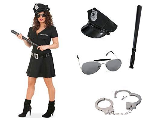 KarnevalsTeufel Kostüm Komplett Paket Police Woman, schwarz, Officer, Cop Uniform Polizistin Damenkostüm Special Agent Karneval, Polizei 5 Teile (44)