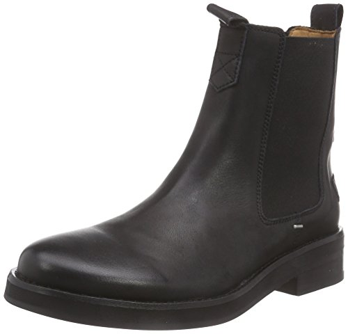 Shabbies Amsterdam Shabbies 3,5cm heel sole Black 14cm CHELSEA booty Farah, Stivaletti a gamba corta mod. Chelsea, imbottitura leggera donna, Nero (Black - Schwarz (Black 002)), 39
