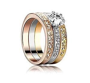 Bague trois en un. 3 anneaux indépendants plaqué 3 ors 18k ornée de cristaux de Swarovski. TAILLE 53