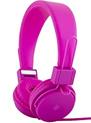 Polaroid PHP8500PK Neon Headphones with Mic, Foldable, Tangle-Proof, Compatible with All Devices, Pink