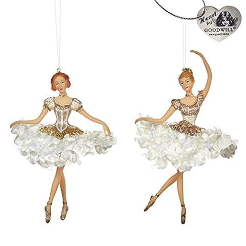 Ballerinas with Jeweled Tutu dress Hanging Christmas Decoration set of 2 - New for Christmas 2016