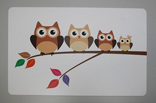 Schreibtischunterlage Motiv: Vier Eulen auf Ast 40 x 60 cm abwischbar