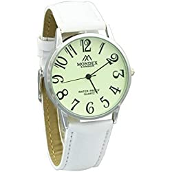 Mondex / Azaza / MABZ Ladies Silver Plated PU Leather Strap Watch (White Strap With Luminous Dial)