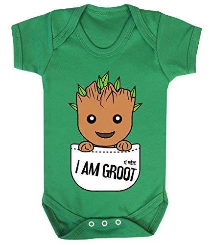 Colour Fashion Groot Im Tasche Superheld Lustig Kostüm Baby Body 100% Cotton 0-24 - Smaragd-grün, 0-3 Months (Qualität Superhelden Kostüm)