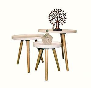 beistelltisch couchtisch rund holz weiss 30 35cm 1530632. Black Bedroom Furniture Sets. Home Design Ideas