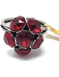 KONPLOTT Disco Balls Ring verstellbar, Glas rot -5450527610360