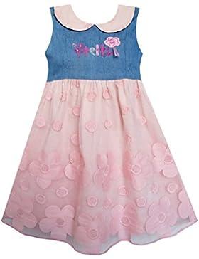 Mädchen Kleid Ziemlich Drucken Rosa Blume Tüll Schnüren Saum