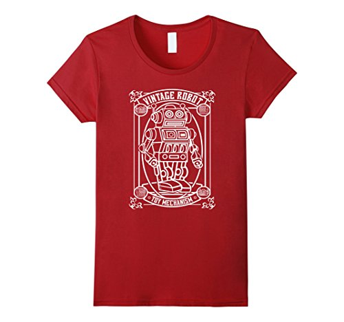 womens-vintage-robot-toy-mechanism-funny-t-shirt-medium-cranberry