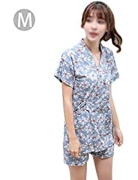 hifuture Camicia da Notte a Maniche Corte Donna - Set Pigiama Giapponese  Kimono 69604fe09e0