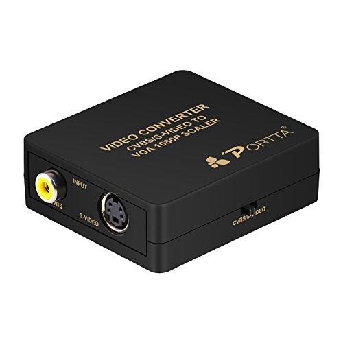 Portta VGA Konverter CVBS RCA Composite S-Video zu VGA Video Converter mit Upscaler 1080P Unterstützung PAL NTSC TV System für Spielkonsolen VCR DVD-Player Camcorder