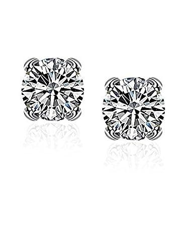 Boucles d'oreilles uniques en zircon cubique pour femme et homme avec plaqué argent Borong - Penna D'argento Cerchio