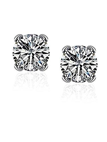 Zirkonia Unisex Ohrstecker Ohrringe für Frauen und Männer mit Silber überzogen Borong (Saphir Und Diamant Ohrringe Kostüme)