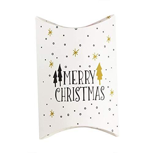 SMHILY 10STÜCK Merry Christmas Candy Geschenkboxen Deer Xmas Tree Guests Packaging Boxes Geschenktüte Christmas Party Favors Kids Gift Decor Pillow