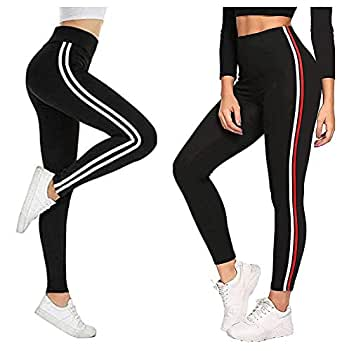 Fitg18® Gym wear Leggings Ankle Length Free Size Combo Workout Trousers | Stretchable Striped Jeggings | Yoga Track Pants for Girls & Women (Pack of 2) (RED, Free Size 28-34 Inch)