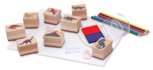 Image of Melissa & Doug Wooden Stamp Set:  Dinosaurs - 8 Stamps, 5 Colored Pencils, 2-Color Stamp Pad