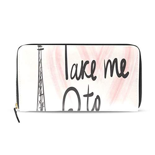 Frankreich Handgezeichnete Romantische Eiffelturm Lange Passport Clutch Geldbörsen Reißverschluss Brieftasche Fall Handtasche Geld Organizer Tasche Kreditkarteninhaber Dame Frauen Mädchen Männer (Eiffelturm Zeichnung Leicht)