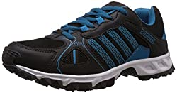 Columbus Mens Black and Sky Blue Mesh Running Shoes - 7 UK (TURBO-2)