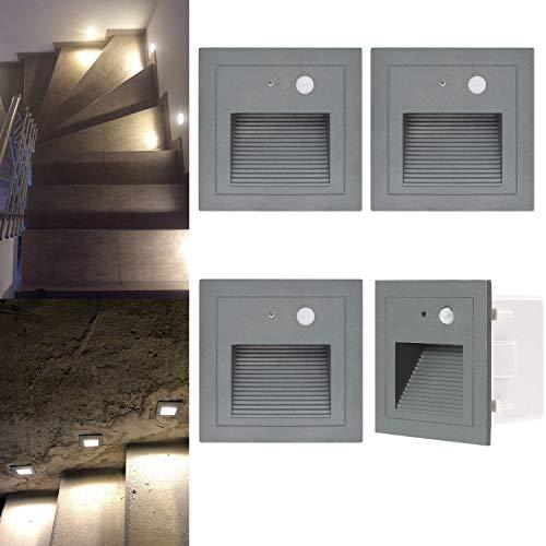 Wandeinbauleuchte aussen LED Treppenlicht Wandleuchte mit Bewegungsmelder Quadratische LED Treppenbeleuchtung Stufenbeleuchtung Stufenleuchte, Aluminium, 230V 3W (grau, 4er Set)