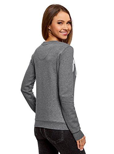 oodji Ultra Damen Sweatshirt mit Stickerei Grau (2310Z)