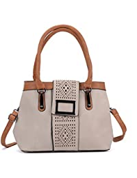 Sally Young Laser Cut Contrast Handle Tote Bag - Light Grey