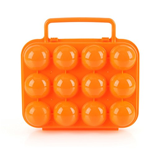 Cftrum 12 portauova custodia da viaggio giardino campeggio plastica arancio pieghevole valigetta, arancione