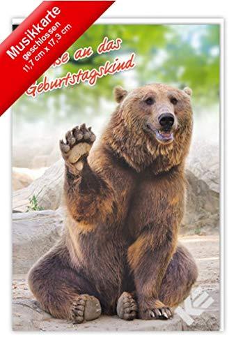 "Geburtstagskarte""Bär"" mit Musik, B6 + Umschlag"