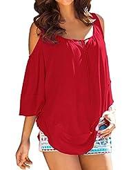 Fortan Mujeres sueltan la mitad superior de la blusa de la manga de las señoras de la camiseta