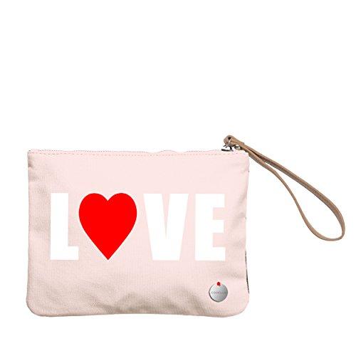 Codello Damen Clutch mit Herzmotiv Valentinstag Light Pink