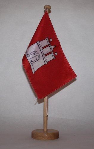 Buddel-Bini Hamburg Landesflagge Tischflagge 15x25 cm in Profiqualität, mit 42 cm Massivholz - Tischständer