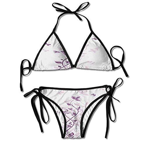 Soft Bikini Swimsuits,Lilac Blooms with Butterfly Sexy Bikini 2 Pieces Butterfly Thong Sandal