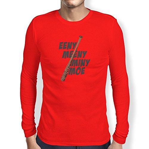 NERDO - Eeny Meeny Miny Moe - Herren Langarm T-Shirt Rot