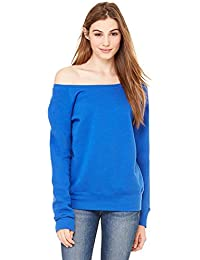 Bella + Canvas Womens Sponge Fleece Wide Neck Sweatshirt (7501) TRUE ROYAL