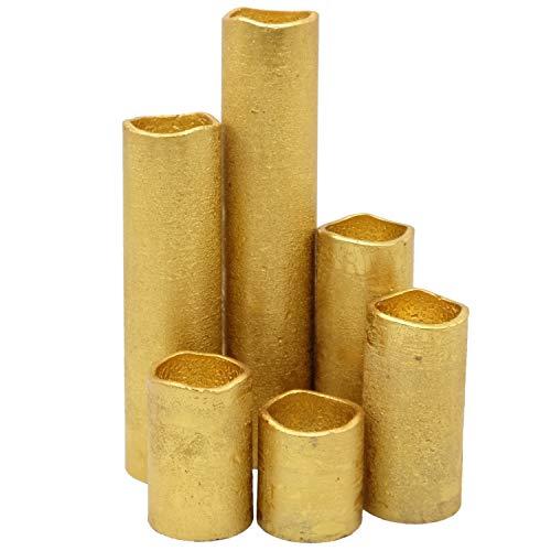 Eldnacele Gold beschichtete flammenlose flackernde Kerzen mit Timer, reales Wachs Batterie betriebene Stumpenkerzen 5 7,5 10 12,5 17,5 22,5 cm für Hochzeiten und Hauptdekorationen