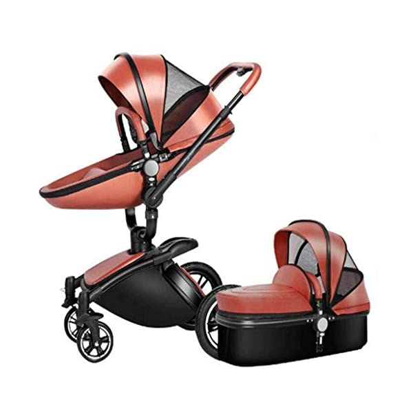 Meen Baby Stroller, High Landscape Leather Two-Way Car 360 Degree Folding Shock Can Sit Lie Baby Car (Color : Brown) Meen * EASY TO FOLD: It can be used in one-button car collection, easy to handle all kinds of occasions, save space, easy to carry, easy and labor-saving * SAFETY SYSTEM: Baby stroller adopts 5-point safety belt, high quality design is safer, and 5-point structure is safer * ADJUSTABLE BACKREST - The stroller backrest can be adjusted at any angle, and the pedal can be adjusted according to the baby's needs, giving the baby a more comfortable experience 5