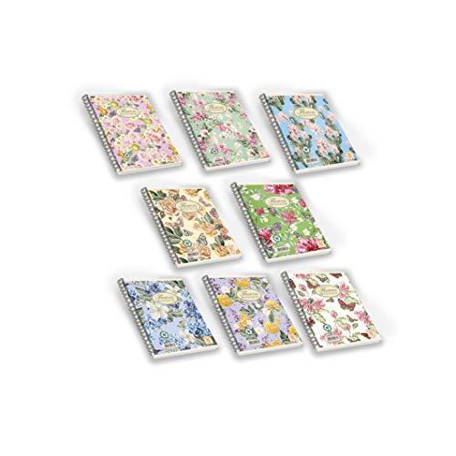 Pigna Nature Flowers , 02182575M , Quaderno con Spirale, f.to A4 ,  Confezione da 5 Pz.