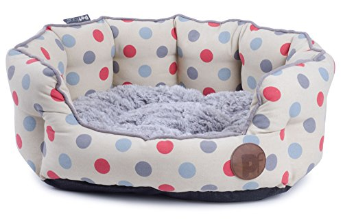 Petface Polka Dots Print Hundebett, oval Finden Sie Weitere Red Dot
