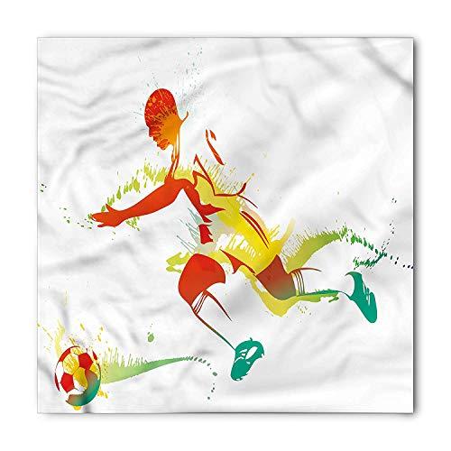 LULABE Teen Room Bandana, Soccer Player Athlete, Unisex Bandana Head and Neck Tie Neckerchief Headdress Silk-Like 100% Polyester - Bed Head Player