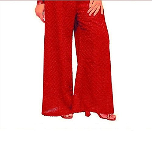 KYRON® COTTON CHICKEN (LAKHNAWI STYLE) HEAVY EMBROIDERY PALAZZO PANT FOR WOMENS (RED)