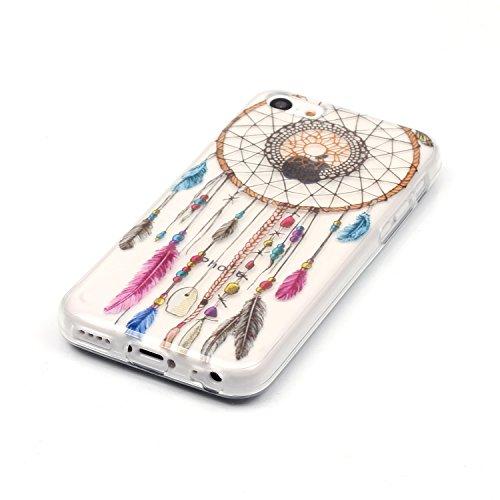 iphone 5c hülle silikon, LuckyW TPU Handyhülle für Apple iPhone 5C Soft Silikon Tasche Transparent Schale Clear Klar Hanytasche Durchsichtig Rückschale Ultra Slim Thin Dünne Schutzhülle Weiche Flexibe Traumfänger