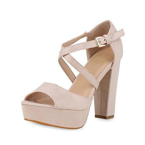 SCARPE VITA Damen Pumps Plateau Sandaletten Elegante High Heels Wildleder-Optik Schuhe Party Abendschuhe Elegante Absatzschuhe 158269 Nude 36 -
