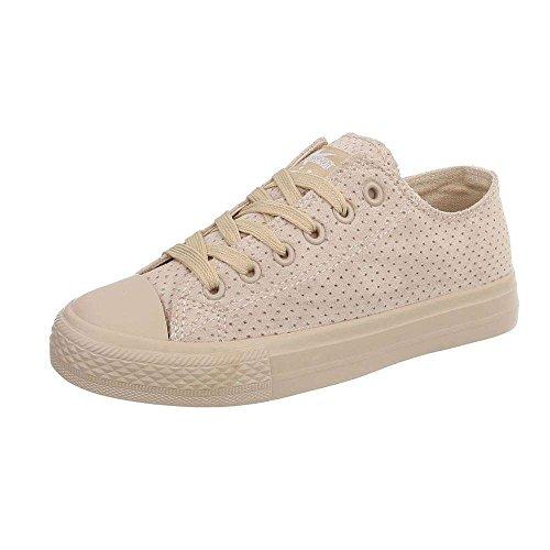 Damen Sneaker Atmungsaktive Leichte und Bequeme Sneaker Schnür-Schuhe Freizeitschuh Modern (41, Low Beige)